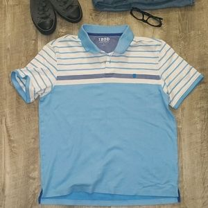 IZOD Polo Light Blue with White & Denim Stripes